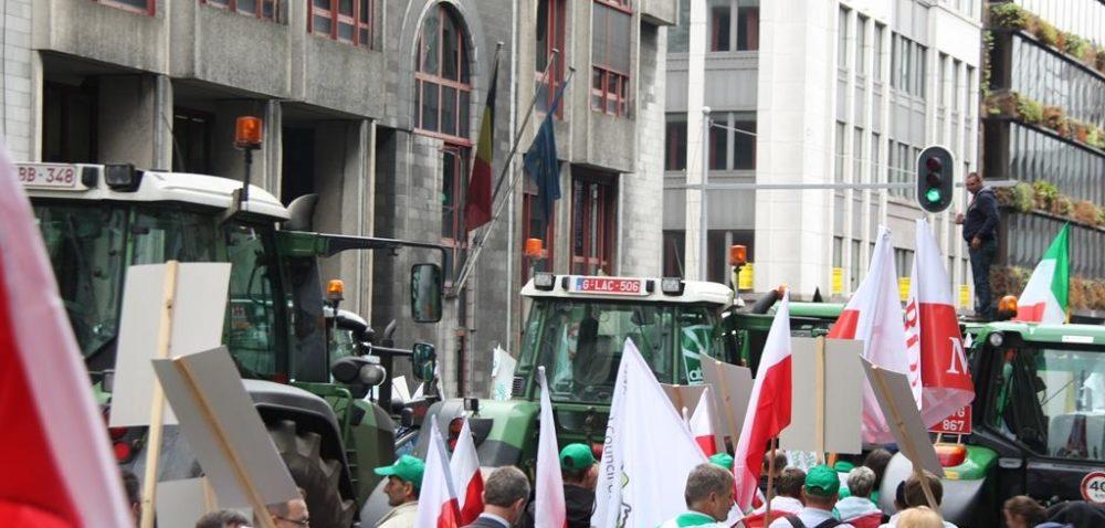 """Rolniczy protest w""""dzielnicy europejskiej"""" wBrukseli"""