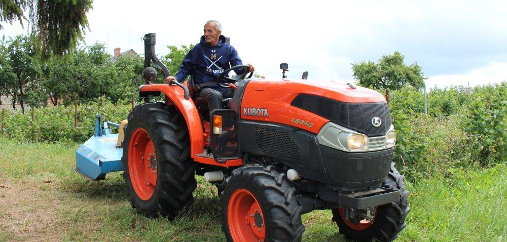 Traktor Kubota L5040 buszuje wmalinowym chruśniaku
